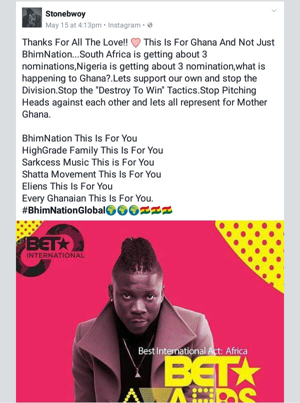 Stonebwoy's Facebook Post After His BET 2017 Nomination