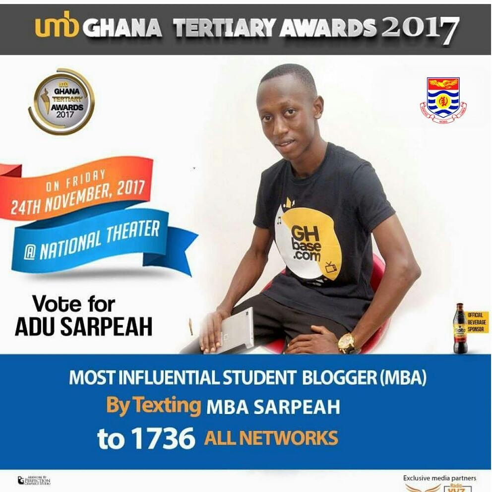 Adu Sarpeah Nominated For 2017 UMB Ghana Tertiary Awards