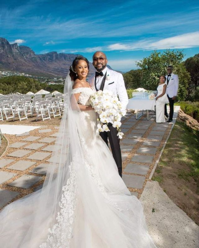Photos & Video From Banky W and Adesua Etomi's White Wedding In South Africa