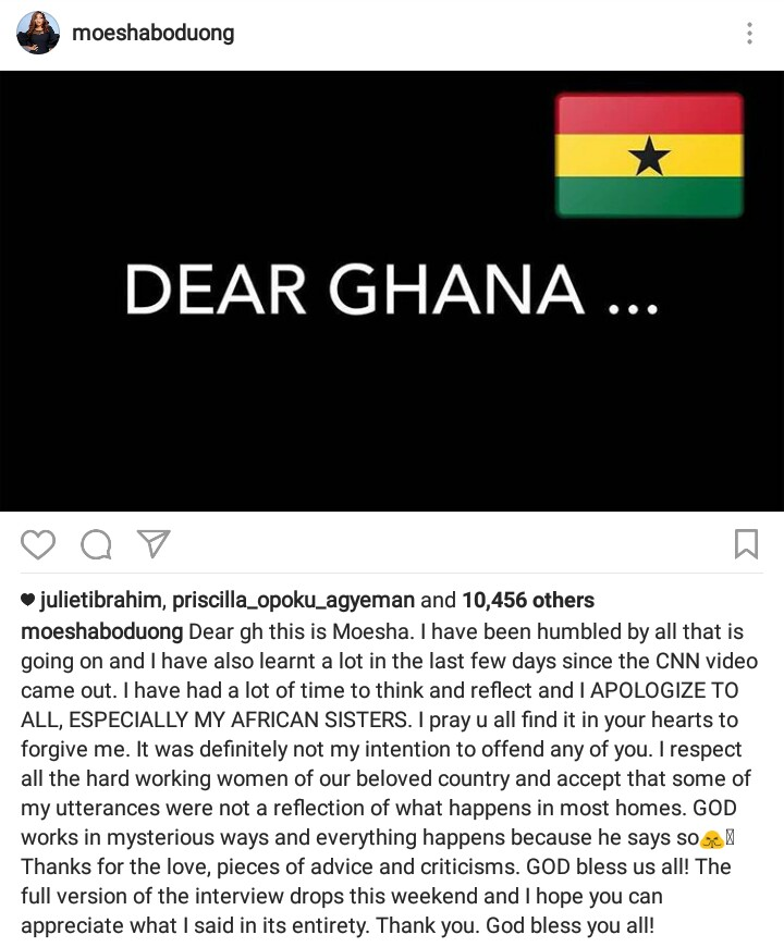 Moesha Boduong has apologized to Ghanaian women & this is what She siad