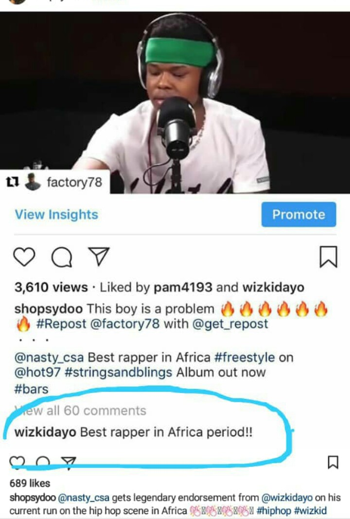 Nasty C Is African Best Rapper - Wizkid